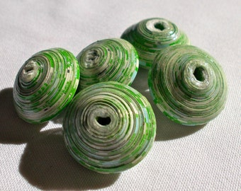 African Jumbo Green Recycled Paper Beads 3cm Pack of 5 - Fair Trade from Mzuribeads Uganda