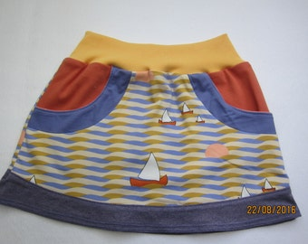Baby, girl's skirt, summer skirt, eco skirt, see with sails skirt, summer sunset, size 6-7 (116)