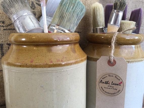 OLD STONEWARE POT - Vintage English Honey Glazed Jar / Small Glazed Stoneware Jar for Utensils / Rustic Farmhouse Kitchen Storage Vessel