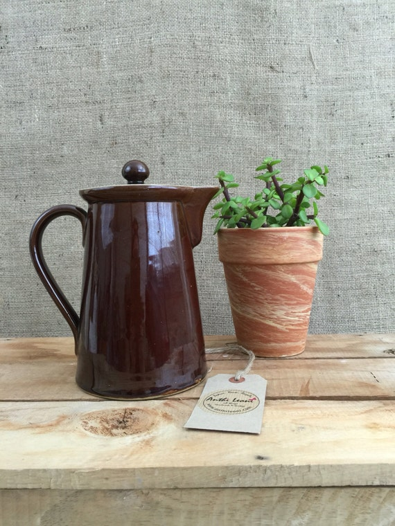 VINTAGE BROWN GLAZED Ceramic Coffee Pot With Lid - Denby Bourne Retro Coffee Pot / Vintage Kitchenalia / Rustic Farmhouse Country Style