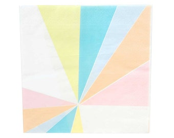 Pastel paper napkins. Set of 20. Rainbow paper lunch napkins.  Birthday party napkins.  Light blue, pink, orange, and yellow napkins.