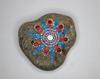 Pink and Blue Star Mandala Meditation Pebble / Stone