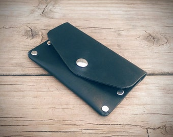 Leather Snap Wallet, Small Wallet, Minimalist Wallet, Slim Wallet, Men's Wallet, Goth Wallet, Biker Wallet, Riveted Wallet (Black)