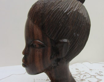 Accomplished vintage hand carved wood sculpture, a bust of a beautiful young African woman/girl,finely detailed African tribal art carving,