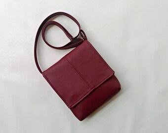 Burgundy faux leather vegan messenger cross body bag