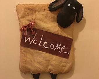 Primitive Sheep Welcome Door Hanger