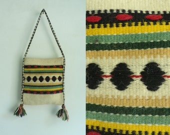 80s  Wool Hand Woven Tapestry Bag, Colorful Bag, Southwest Print, Top Handle Bag, Small Purse, Multi color Purse, Wool Bag, Hand Woven Bag