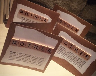 Scrabble birthday mum, mother definaition cards or thinking about you card