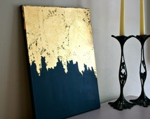 Midnight Gold | Gold Leaf Painting | Modern Art | Acrylic Painting | Shabby Chic Artwork | Blue and Gold Painting | Navy Painting |