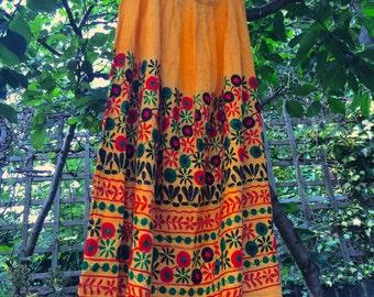 Beautiful and Bright Rajasthani Floral Pattern Skirt - Shamanic Dreams – Yellow