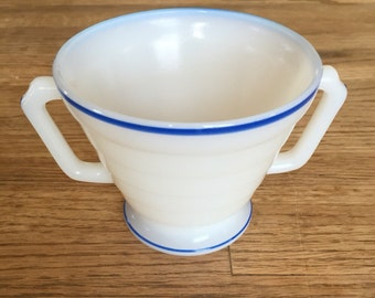 White Milk Glass Sugar Bowl or Two Handled Cup