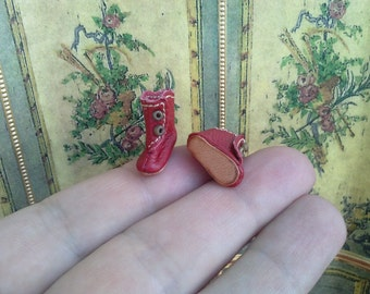 "Red tiny leather boots for antique German or French mignonette doll length 5/8 "" 16 mm, 23/32"" 18 mm, 51/64"" 20 mm, customize shoes"