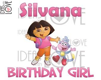 DIY Dora the Explorer Inspired Birthday Girl Printable Iron On Digital Download