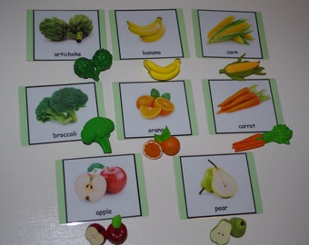 Fruit and Vegetables 3-part cards--Montessori early learning educational material