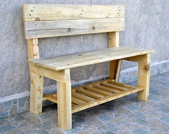 Outdoor bench. Pallet bench
