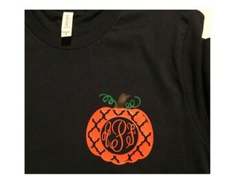 Child's Fall Monogram Shirt, Pumpkin Monogram, Personalized Fall Shirt, Fall Monogram, Child's Fall Shirt, Child's Personalized Fall Shirt