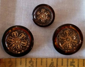 3 beautiful vintage buttons