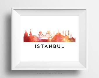 SALE -  Istanbul, City Skyscraper, Country Art Poster, Watercolor, City Silhouette, Typography, Modern Decoration, Sunset Color