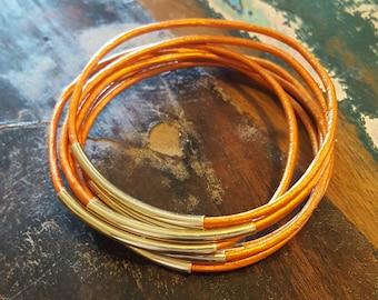 Orange Leather Cord Bangles, Orange Bangles with Gold Metal Tubes, Set of 7, Free Shipping