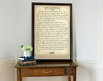 PRIDE AND PREJUDICE - Book Page Wall Art - Book Lovers Large Wall Poster- Great For Home Decor or Gift