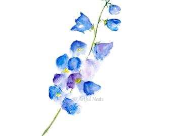 Delphinium flower print, personalized birth announcement art, July birth month flower