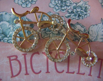 Bicycle Brooch 10 kt Gold Plated Bike Bicycle Brooch  Crystal Rhinestones CLEARANCE SALE
