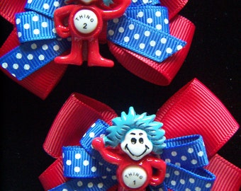 Thing 1 and 2 Hat in Cat  2 Hair Bow Clips Left & Right Side Clips Blue and  Red  Hair Bows CLEARANCE SALE