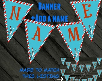 """Dr Seuss Birthday Banner- """"Dr Seuss"""" party- name add on"""