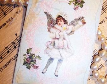 Set of FOUR Victorian Angel Christmas Holiday Hang / Gift Tags