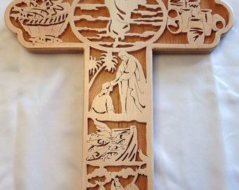 Miracles Bible Story Cross - Maple & Cherry