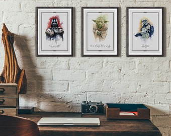 Star Wars classic illustration 3 pack limited edition watercolor Yoda, Darth Vader and Stormtrooper