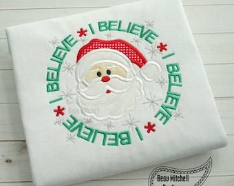 Christmas I Believe Santa Shirt Embroidered Toddler T-shirt, Embroidered T-shirt