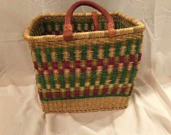 African bolga basket with leather handles