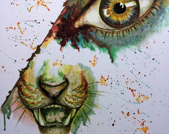 Lions eye - acrylic painting, picture, print, animal portrait, Lion, abstract, animal, human