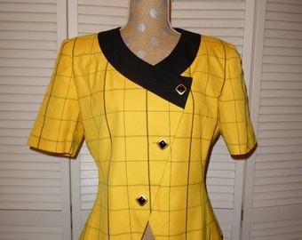 """Vintage 80's """"Le Suit"""" Suit yellow plaid Blazer"""