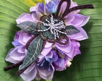 Purple Flower Cascade Hair Clip / Flower