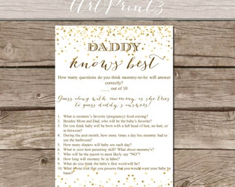 Daddy Knows Best Baby Shower Game, Instant Download Baby Shower Printable, Baby  Shower Game