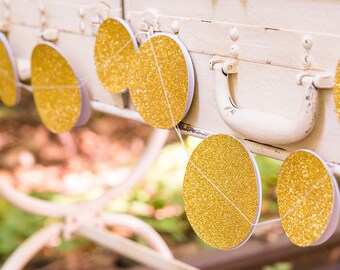 Gold Glitter Circle Sewn Paper Garland