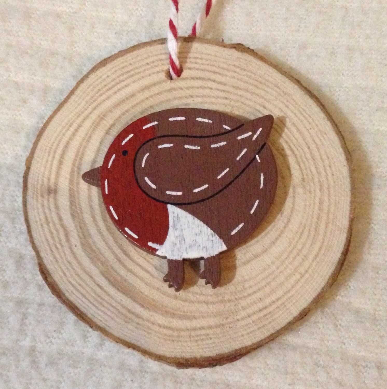 Personalised christmas tree decoration robin bird