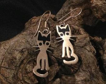 Vintage Taxco Sterling Cat Earrings