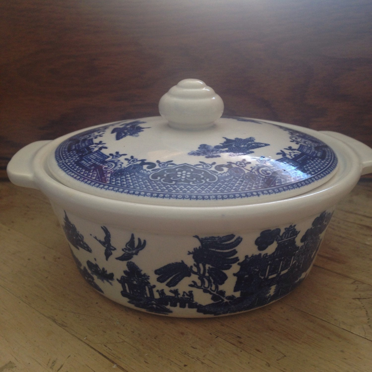 Vintage Blue Willow Individual Casserole Dish Casserole Dish