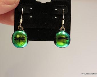 Fused glass green earrings