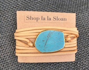 Deerskin leather wrap bracelet with turquoise stone