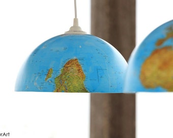 Ceiling lamp with balls of the world, child room pendant luminaire or loving travel, lighting and original decoration for home