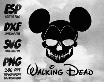Mickey Skull Walking dead Clipart , SVG Cutting , ESP Vectors files , T shirt , iron on , sticker ,Personal Use