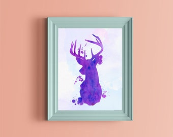 stag head   watercolor Wall Art ,Printable Art, Inspirational Quote, Typography Art, Digital Prints,Wall Art Prints, Digital Download