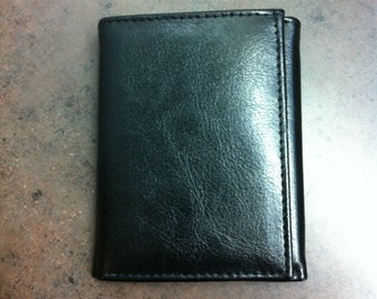 Vintage Mens Wallet - Black Leather Card Holder - Tri Fold Wallet - Purse Accessory - Pocket Wallet