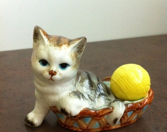 Vintage Cat Figurine - Kitten in a Basket Ornament - Playful Kitten with Ball of Yarn - Ceramic Cat - Gift for Collector