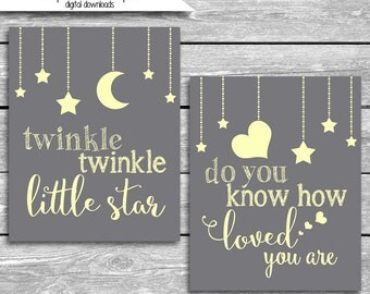 Twinkle Twinkle Little Star Do You Know How Loved You Are Gray And Yellow Nursery Art Printable  - 8x10 High Resolution Digital Downloads