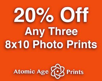 SAVE 20% - Choose any three 8 x 10 photo prints - Mid century vintage objects